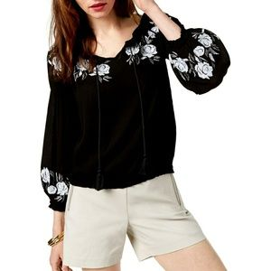 I.N.C Women's Embroidered Black Peasant Top WT-2